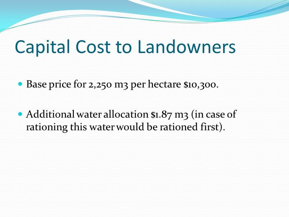 Capital Cost to Landowners