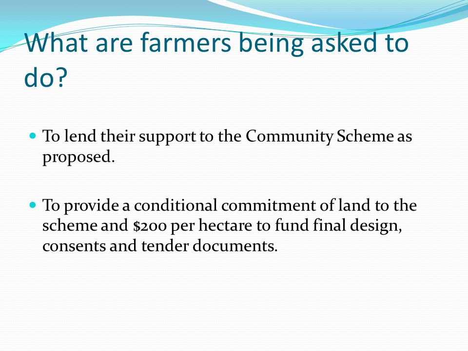 What are farmers being asked to do