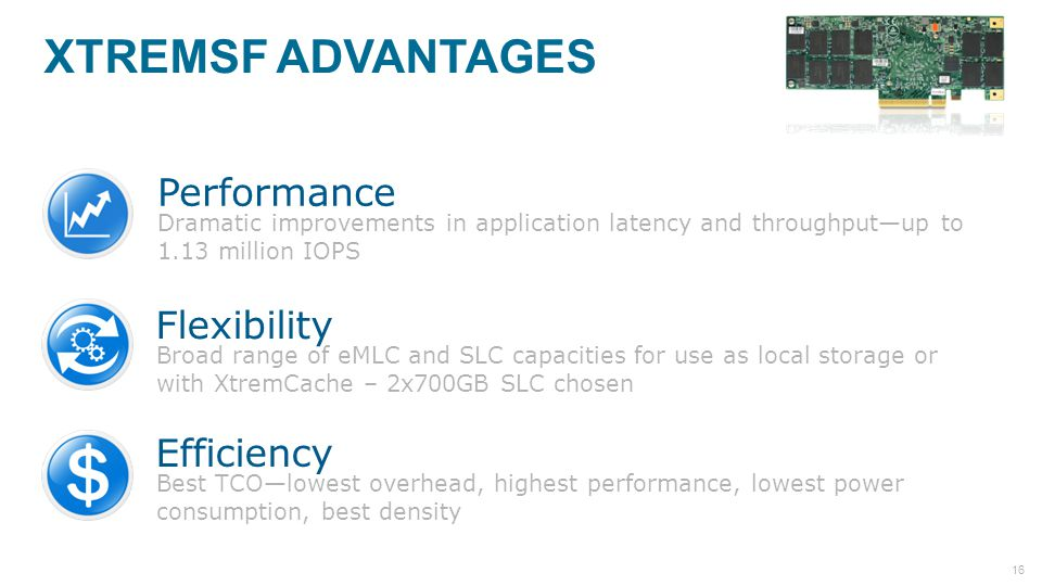 XtremSF Advantages Performance Flexibility Efficiency