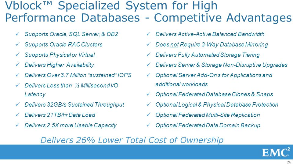 Vblock™ Specialized System for High Performance Databases - Competitive Advantages