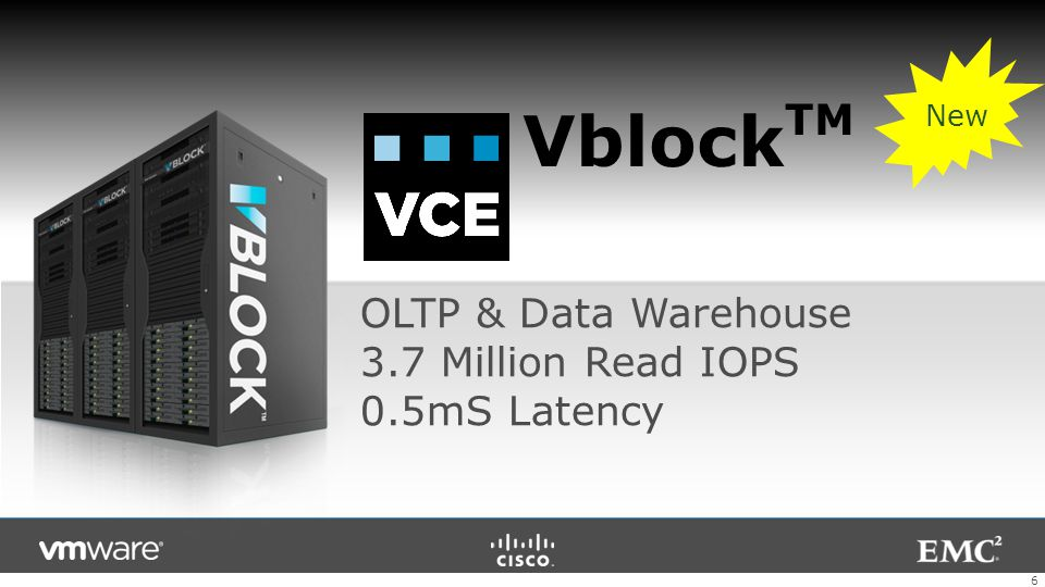VblockTM OLTP & Data Warehouse 3.7 Million Read IOPS 0.5mS Latency New
