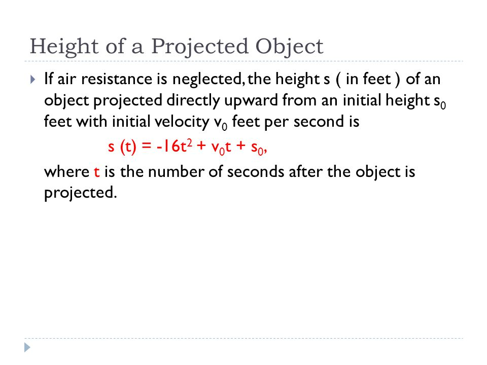 Height of a Projected Object