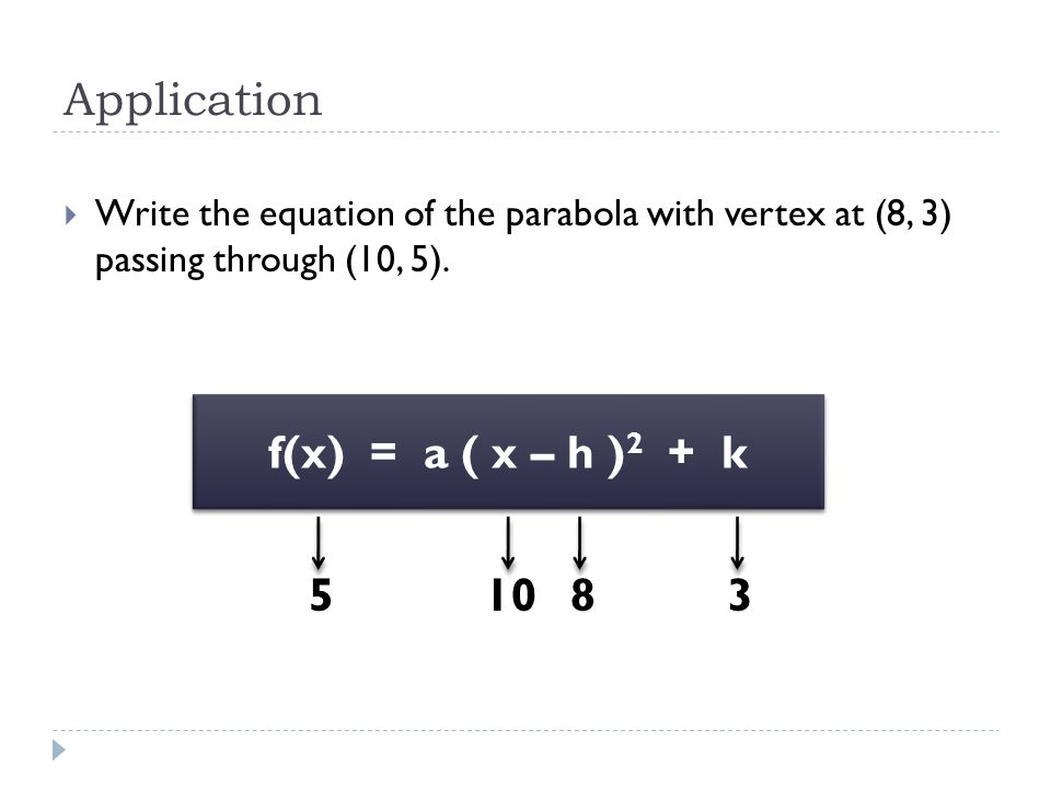Application f(x) = a ( x – h )2 + k 5 10 8 3