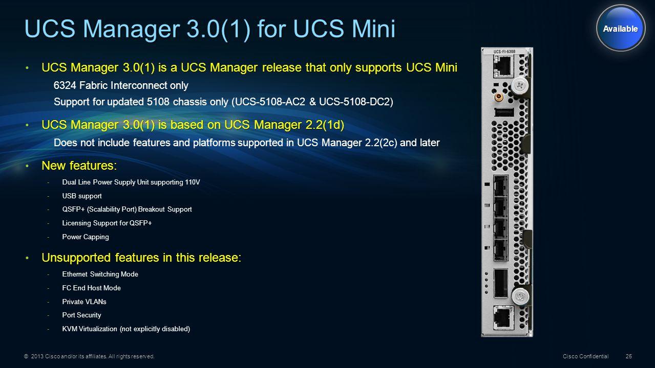 UCS Manager 3.0(1) for UCS Mini