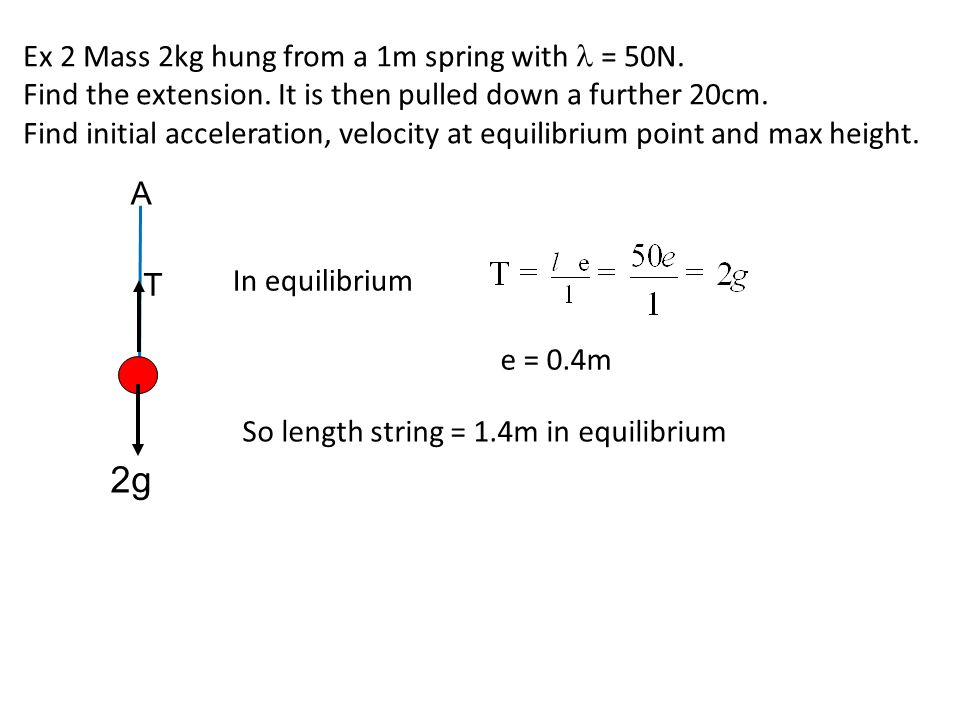 2g Ex 2 Mass 2kg hung from a 1m spring with l = 50N.