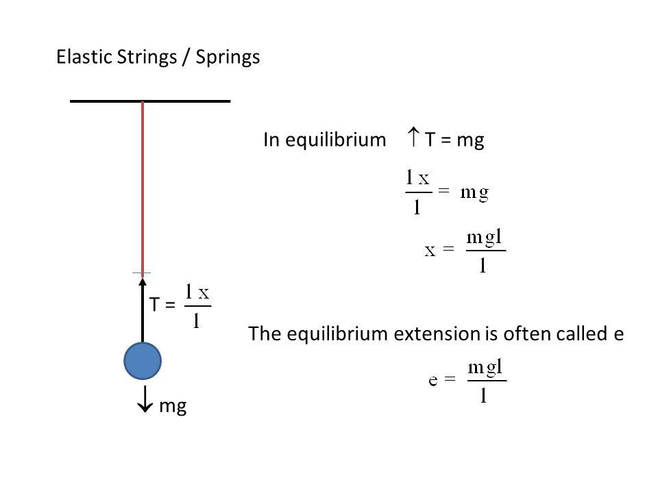  mg Elastic Strings / Springs In equilibrium  T = mg T =