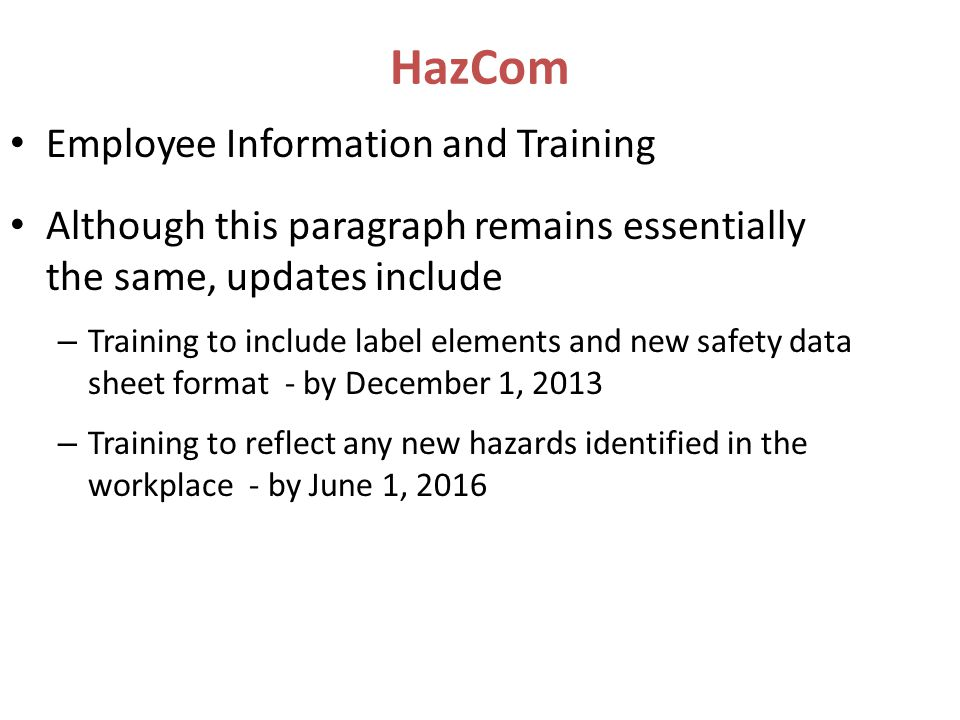 HazCom Employee Information and Training