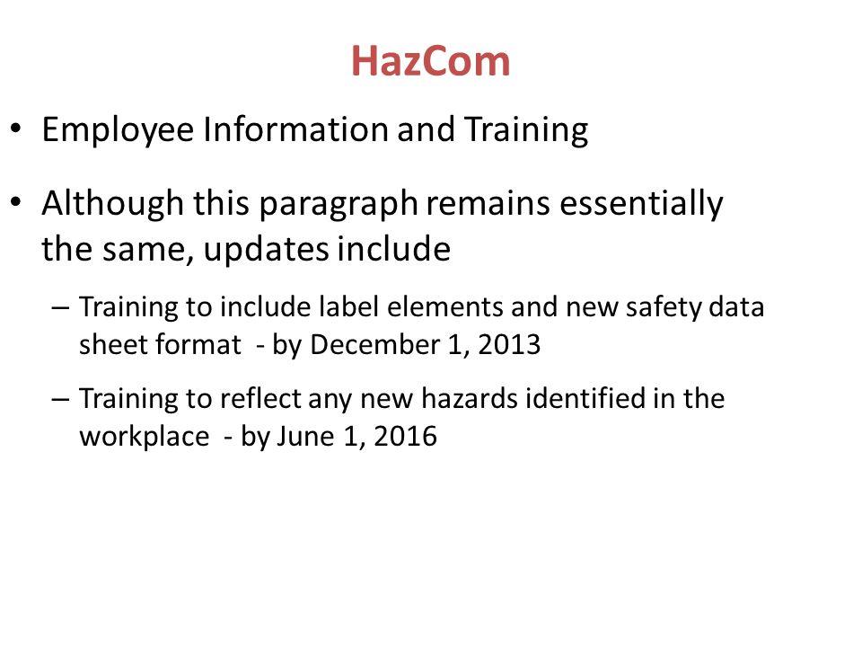 HazCom Employee Information and Training