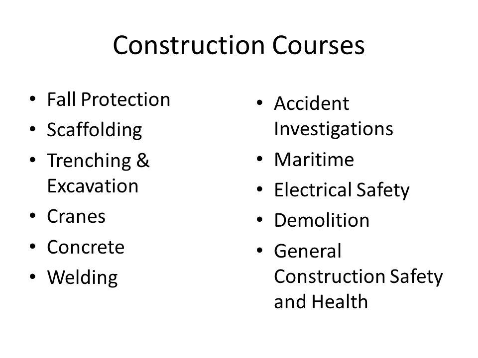 Construction Courses Fall Protection Accident Investigations