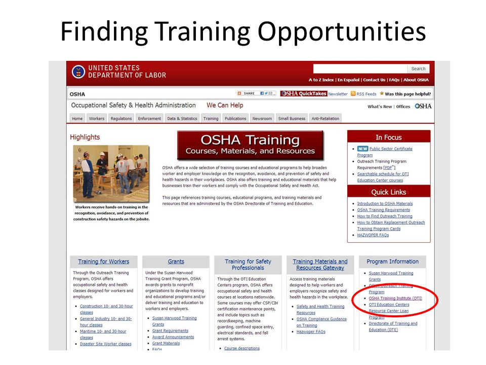 Finding Training Opportunities