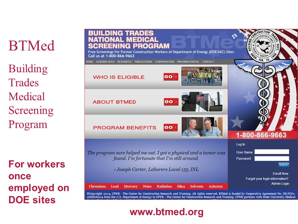 BTMed Building Trades Medical Screening Program