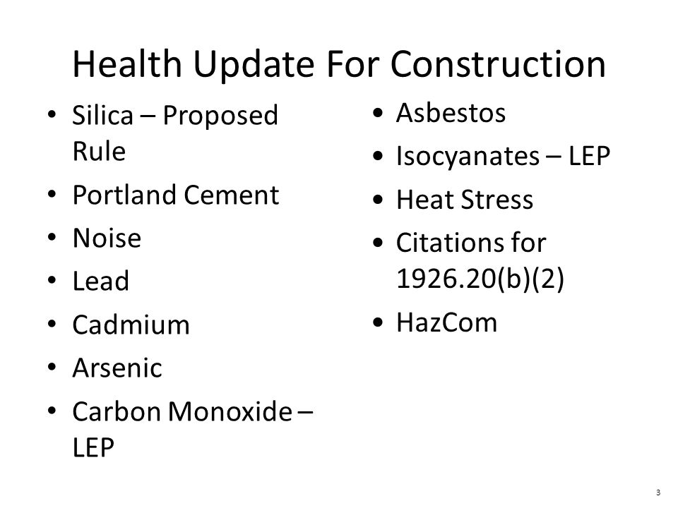 Health Update For Construction
