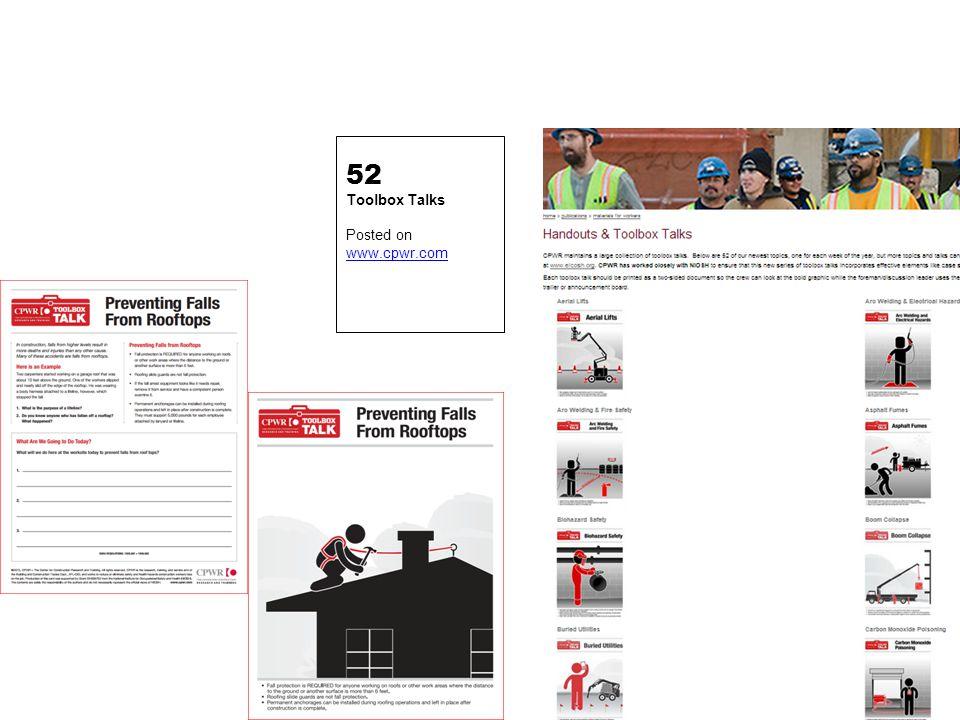 52 Toolbox Talks Posted on www.cpwr.com