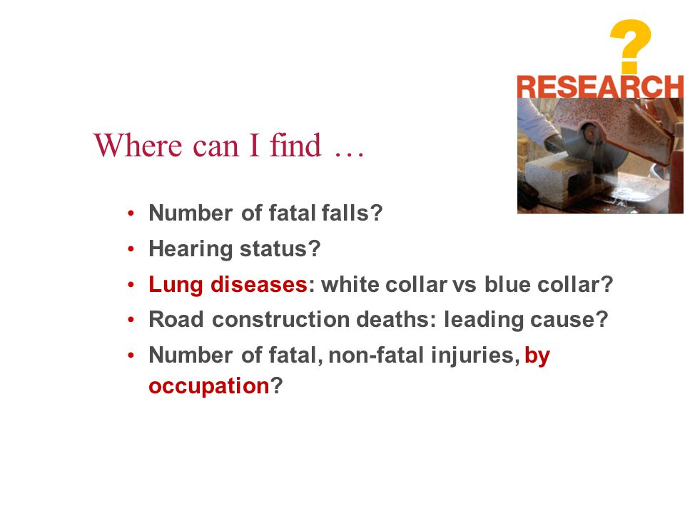 Where can I find … Number of fatal falls Hearing status