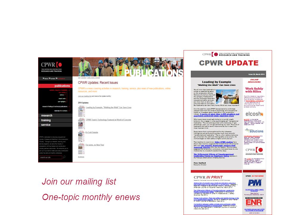 Join our mailing list One-topic monthly enews