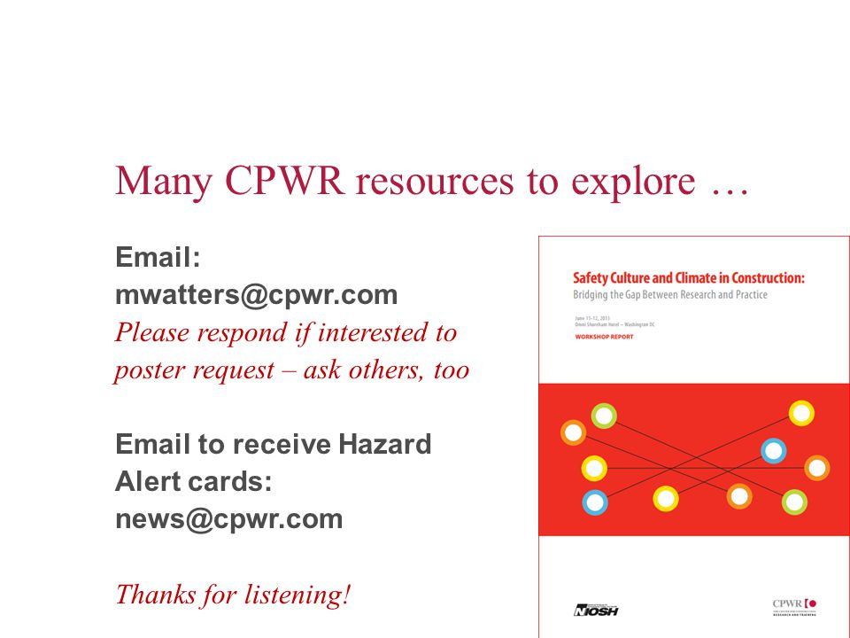 Many CPWR resources to explore …