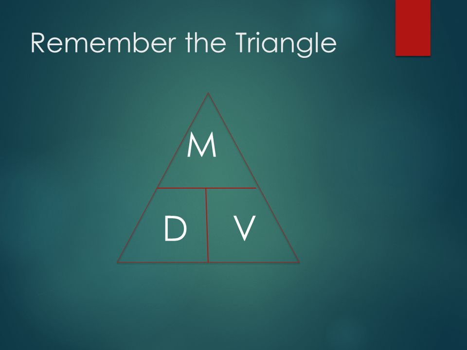 Remember the Triangle M D V