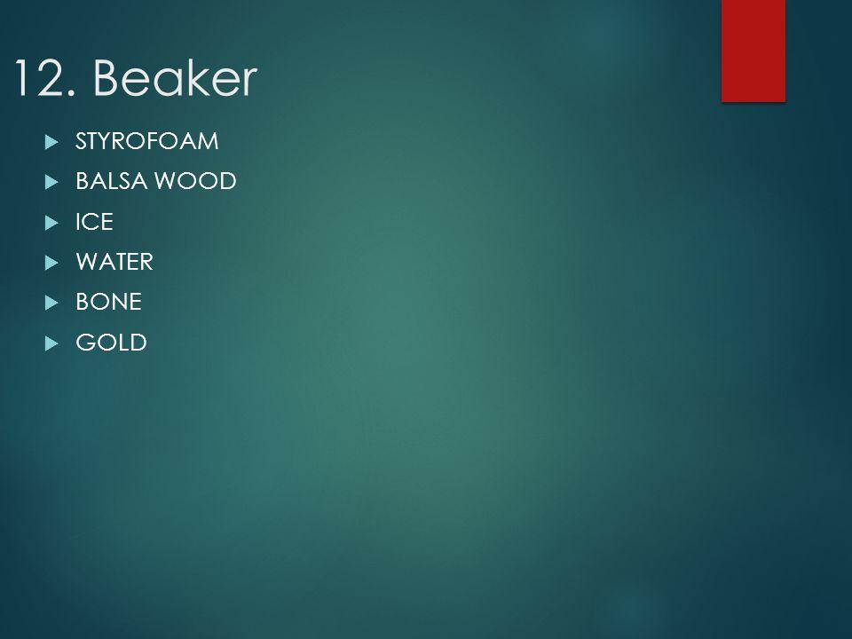 12. Beaker STYROFOAM BALSA WOOD ICE WATER BONE GOLD