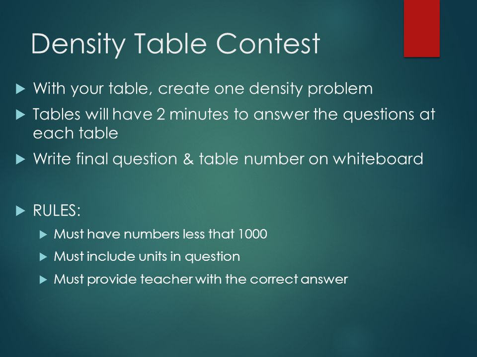 Density Table Contest With your table, create one density problem