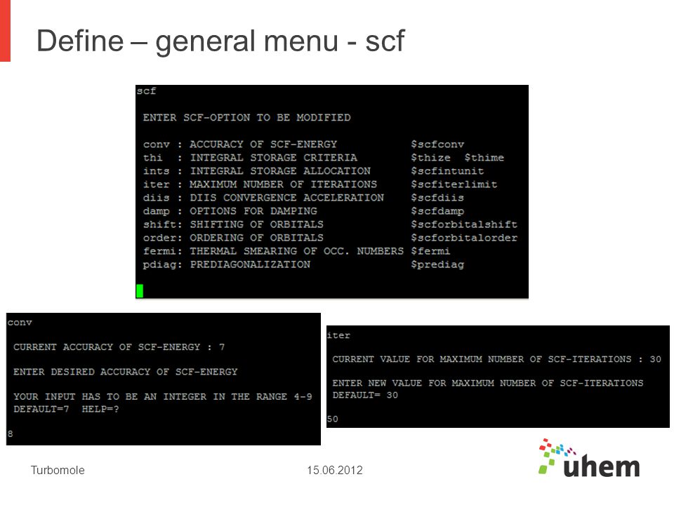 Define – general menu - scf