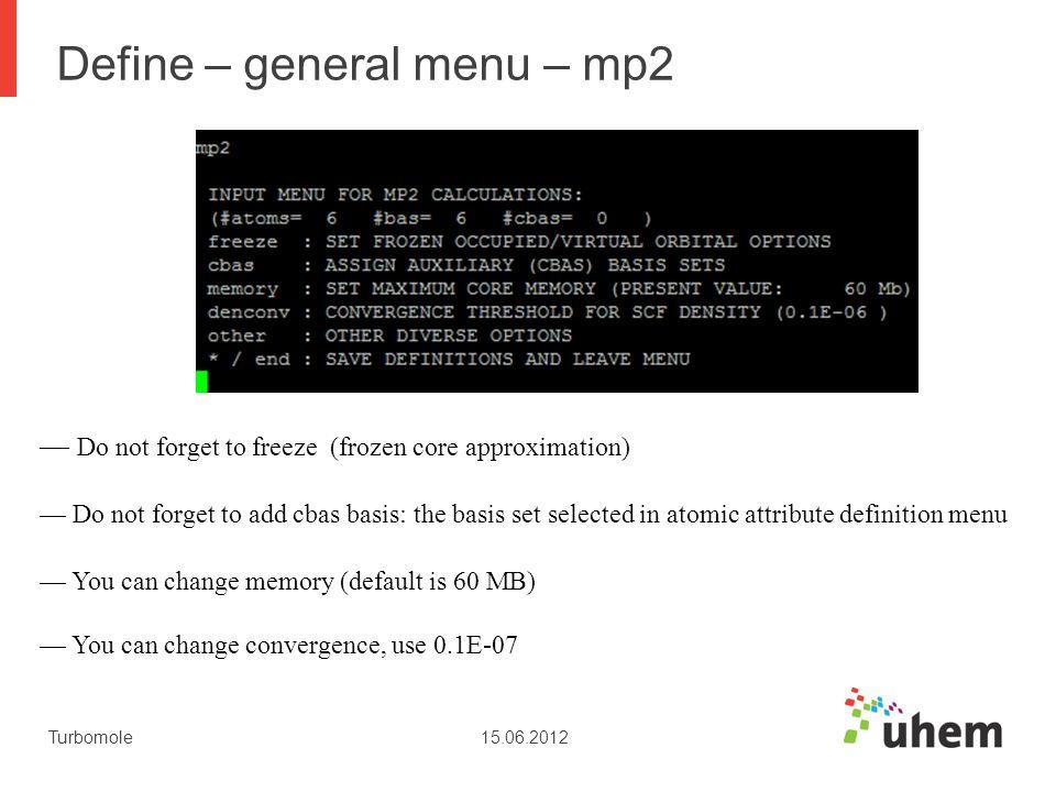 Define – general menu – mp2