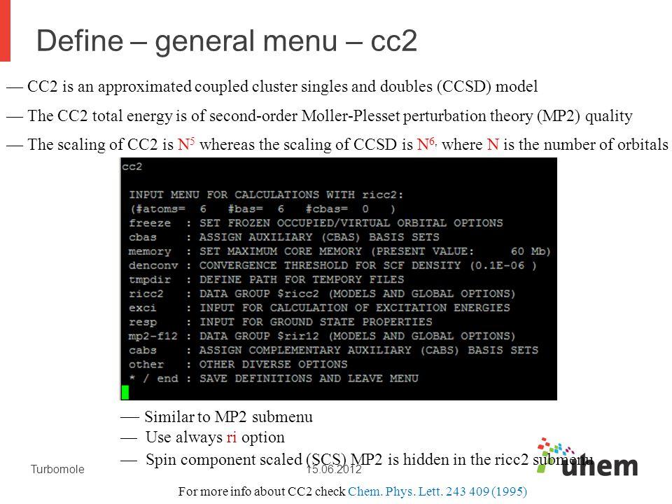 Define – general menu – cc2