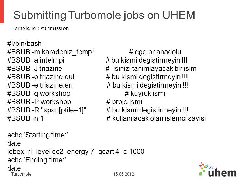 Submitting Turbomole jobs on UHEM