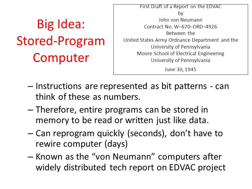 Big Idea: Stored-Program Computer