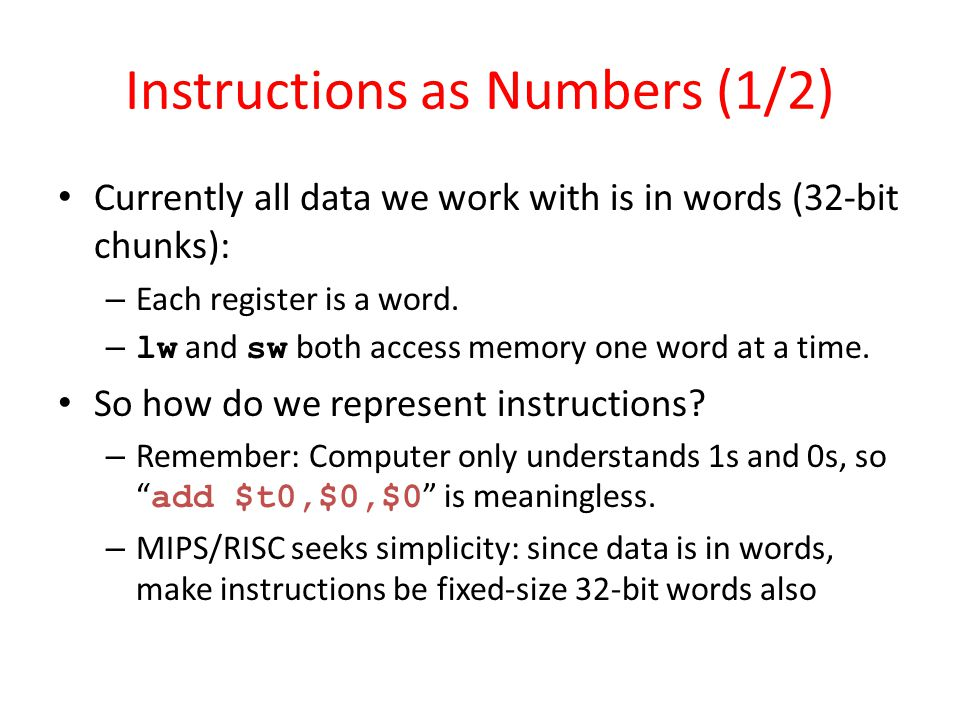 Instructions as Numbers (1/2)