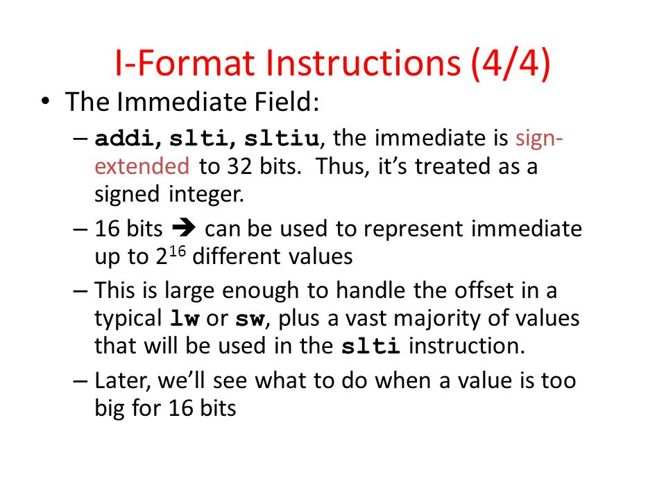 mips lw instruction format
