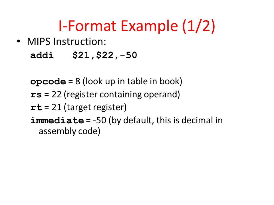 I-Format Example (1/2) MIPS Instruction: addi $21,$22,-50