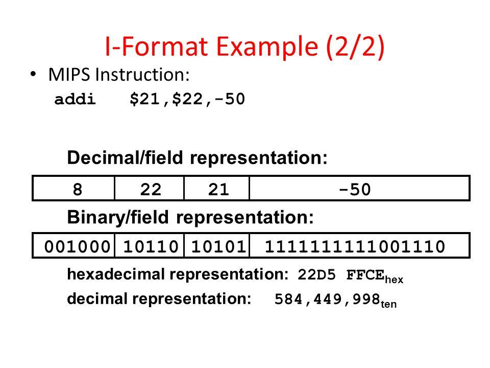 I-Format Example (2/2) MIPS Instruction: Decimal/field representation: