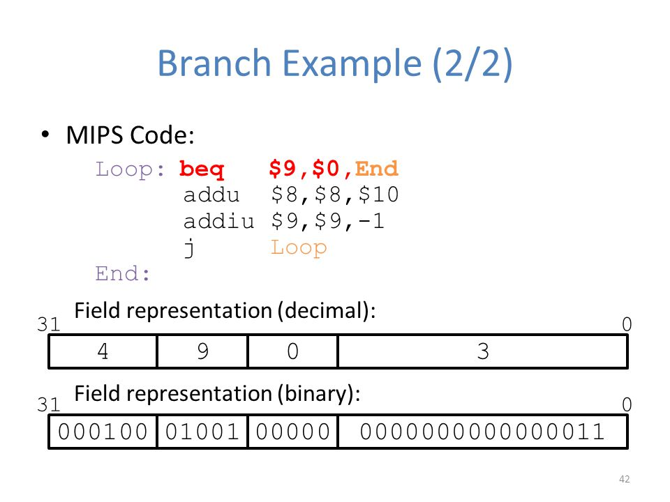 Branch Example (2/2) MIPS Code: 4 9 3 000100 01001 00000