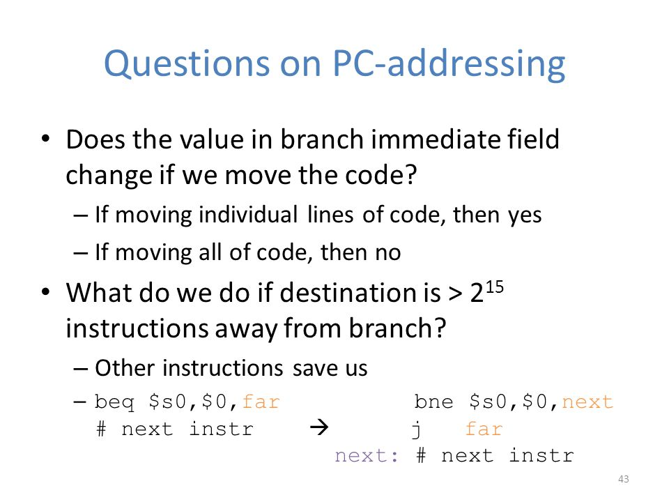 Questions on PC-addressing