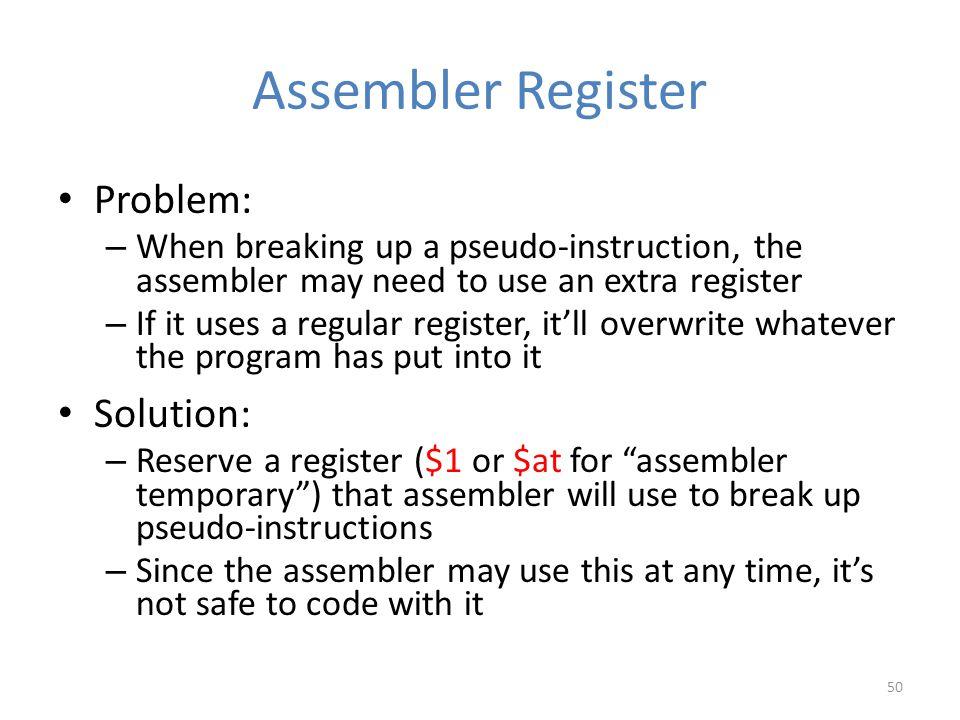 Assembler Register Problem: Solution: