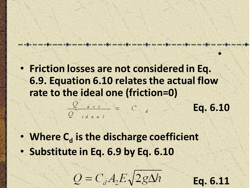 Friction losses are not considered in Eq. 6.9. Equation 6.10 relates the actual flow rate to the ideal one (friction=0)