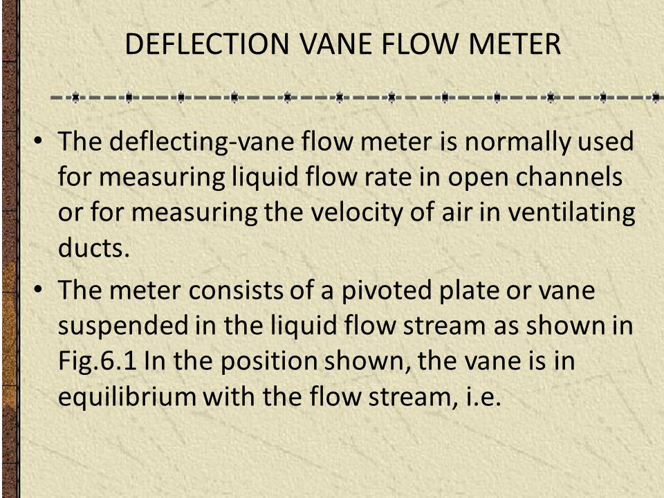 DEFLECTION VANE FLOW METER