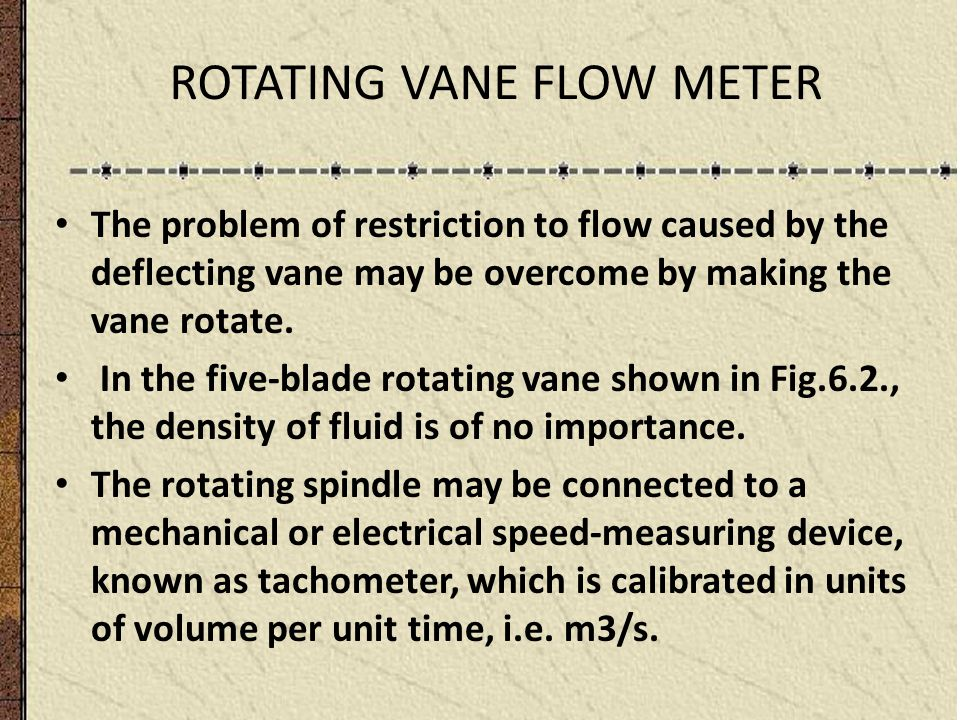 ROTATING VANE FLOW METER