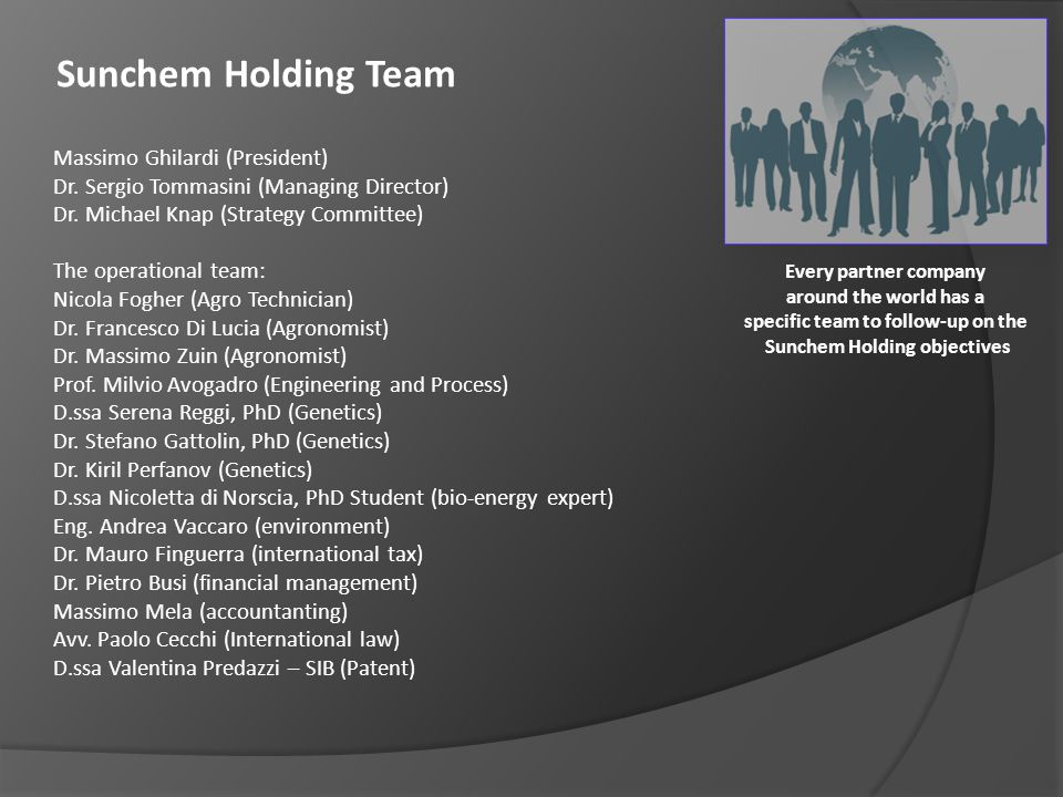specific team to follow-up on the Sunchem Holding objectives