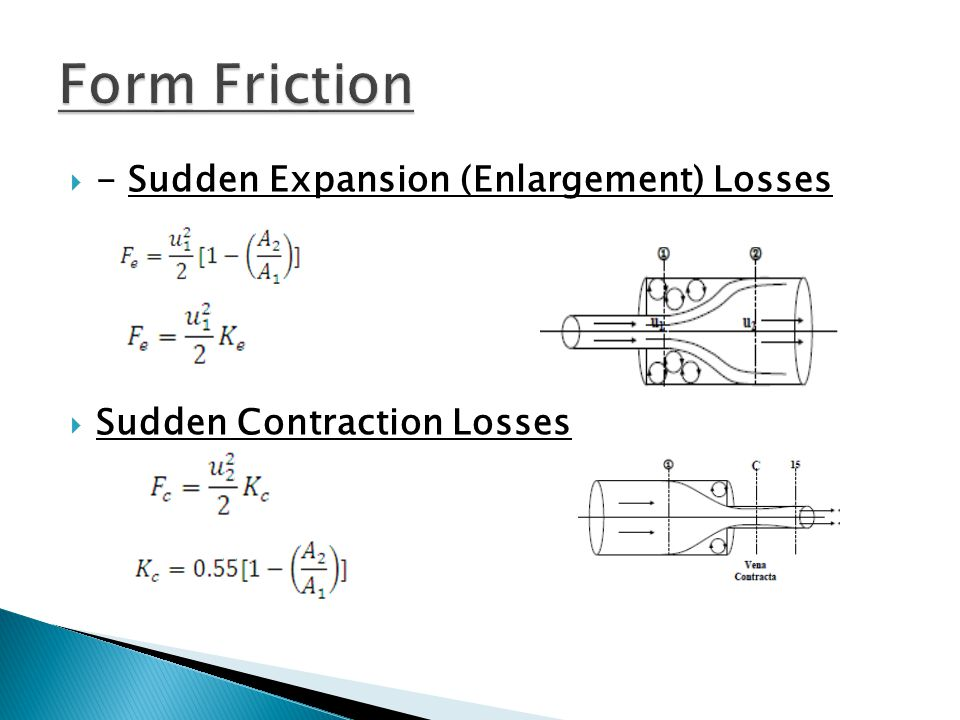 Form Friction - Sudden Expansion (Enlargement) Losses