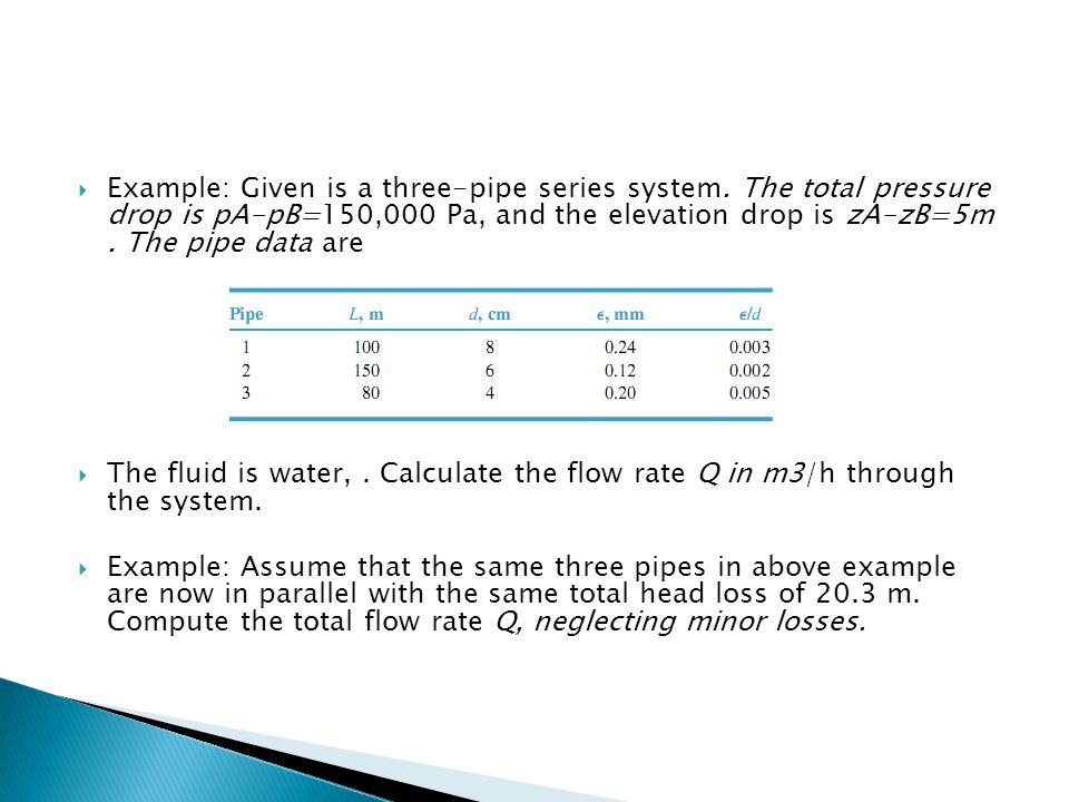 Example: Given is a three-pipe series system