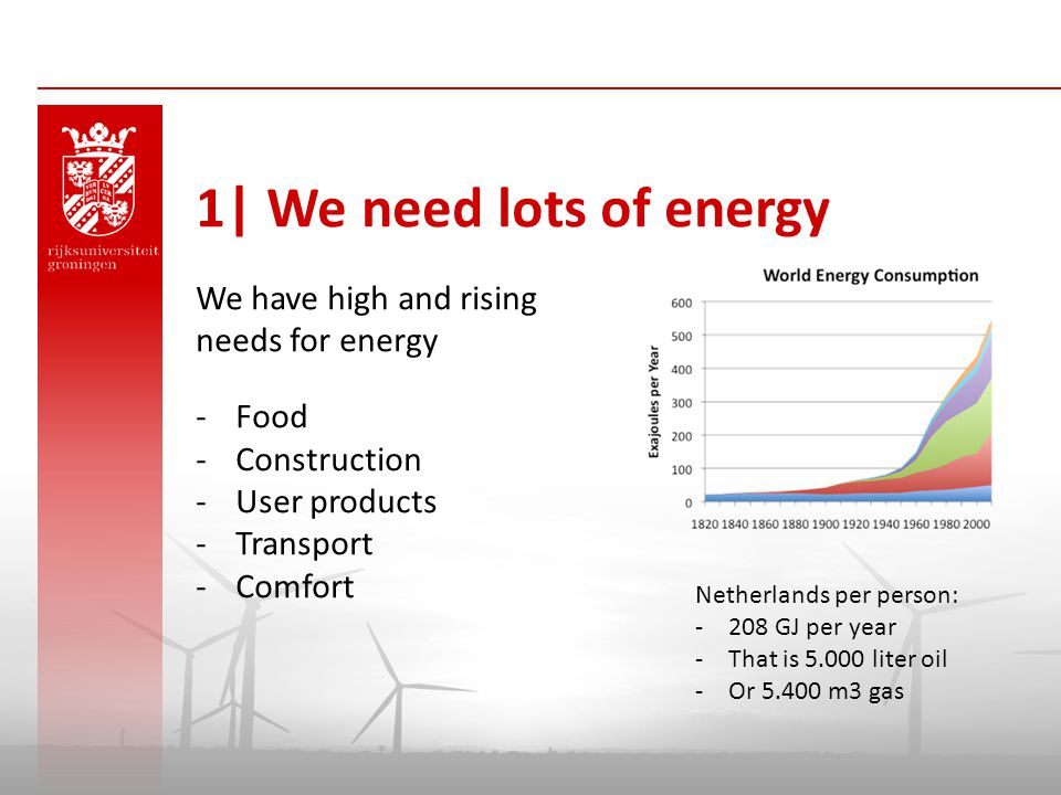 1| We need lots of energy We have high and rising needs for energy