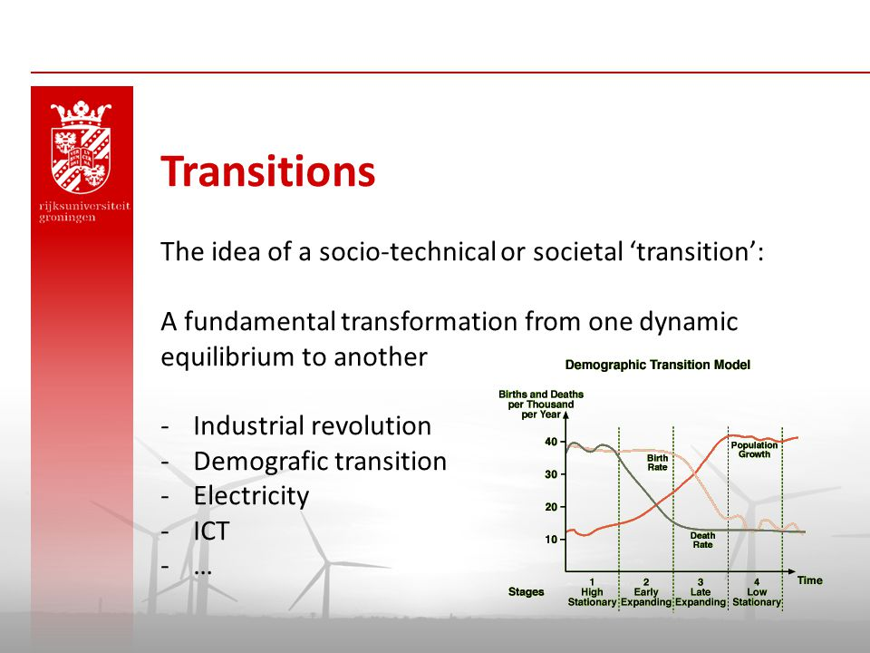 Transitions The idea of a socio-technical or societal 'transition':