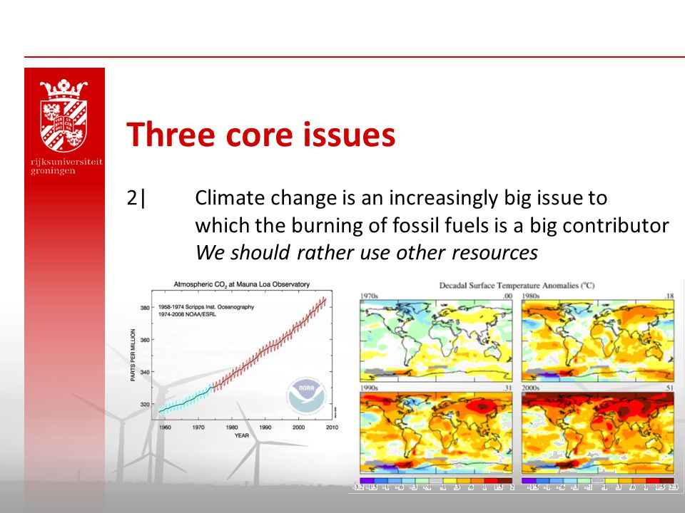 Three core issues 2| Climate change is an increasingly big issue to which the burning of fossil fuels is a big contributor.