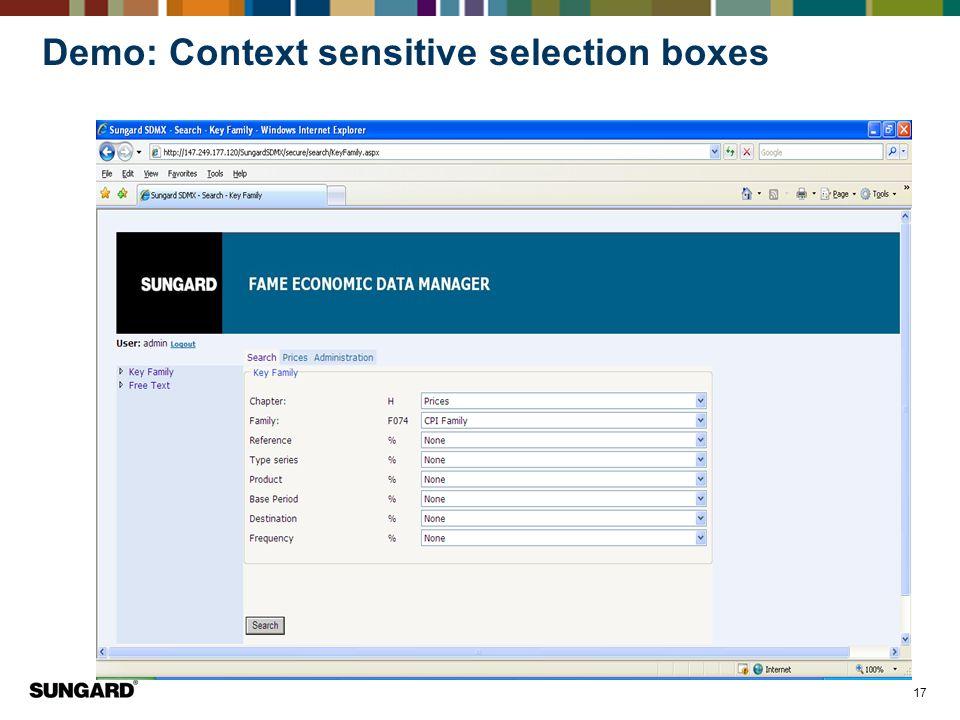 Demo: Context sensitive selection boxes