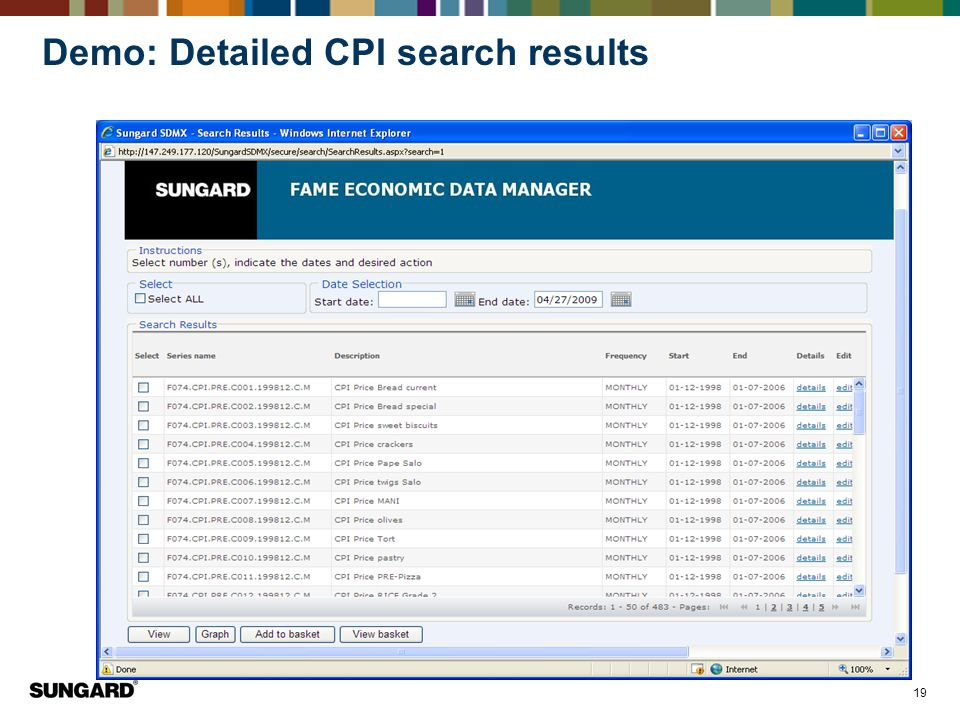 Demo: Detailed CPI search results