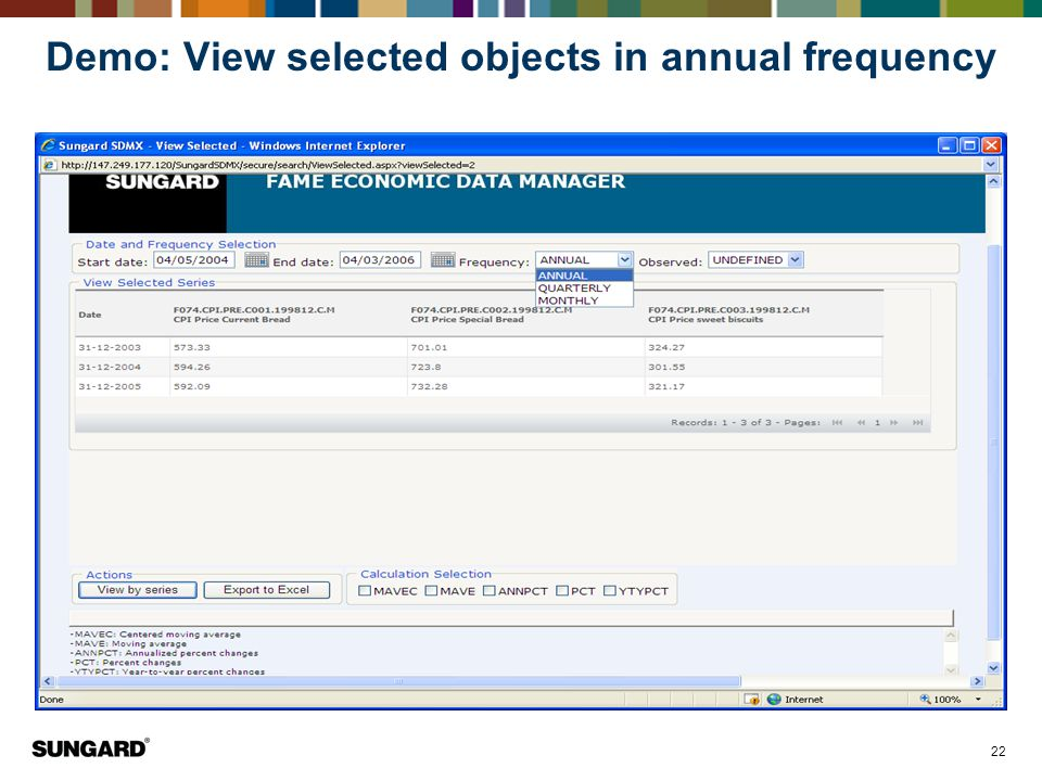 Demo: View selected objects in annual frequency