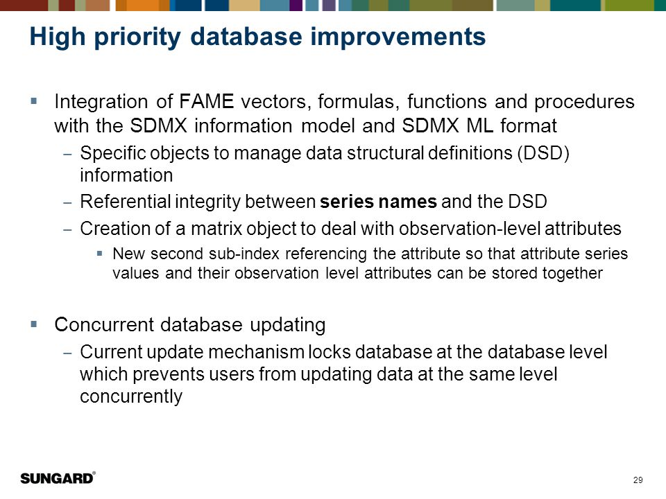 High priority database improvements