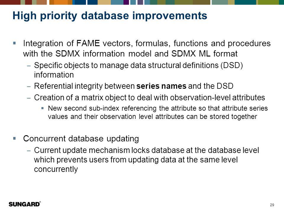 High priority database improvements