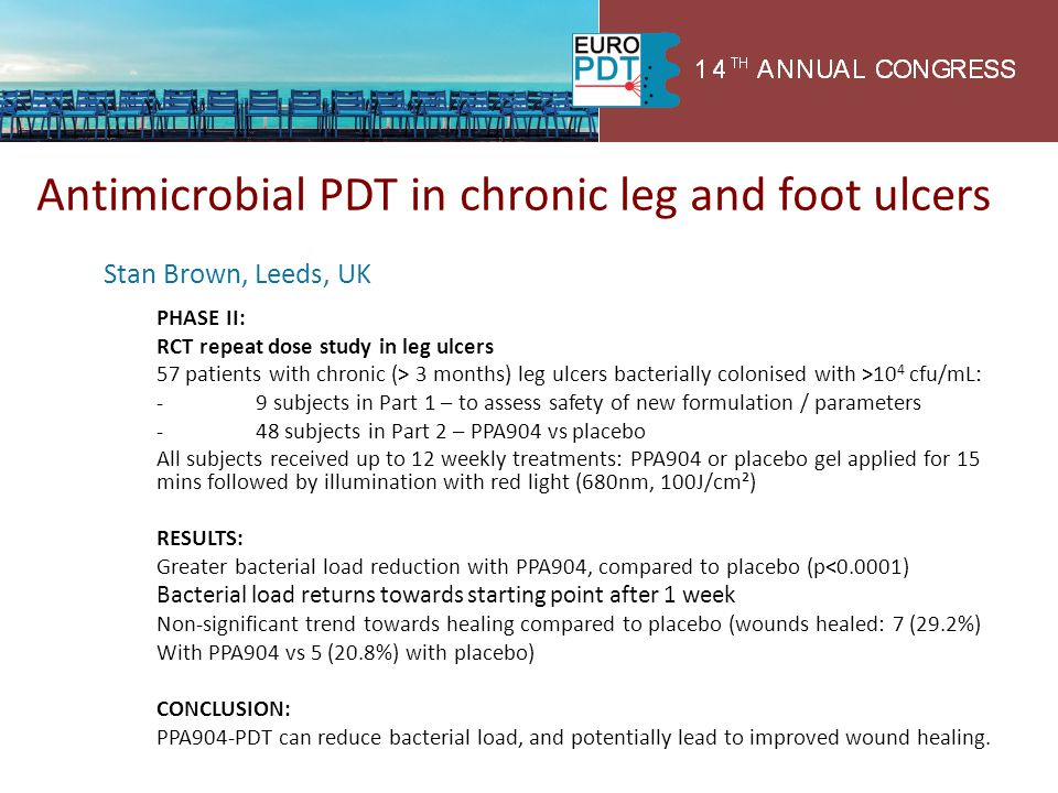 Antimicrobial PDT in chronic leg and foot ulcers
